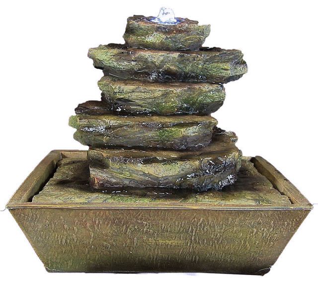 Sunnydaze Cascading Rocks Tabletop Fountain With LED Lights, 12 ...
