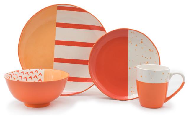 Bliss 16 Piece Dinnerware Set - Contemporary - Dinnerware Sets - by ...