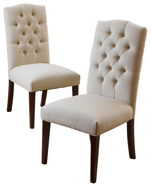 Superb Clark Dining Chairs Natural Linen, Set Of 2 Transitional Dining Chairs