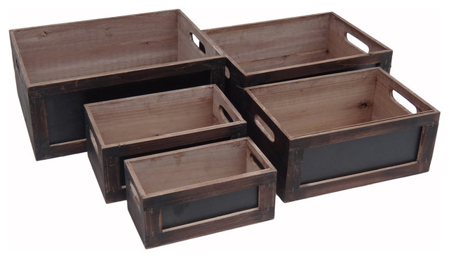 Decorative Wood Crates With Chalkboard Front 5 Piece Set Contemporary Storage Bins