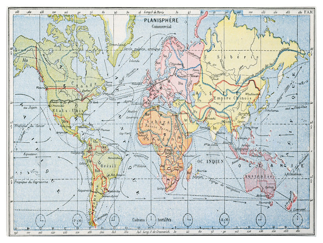 Map of Principal World Trade Routes, 1912' Canvas Art