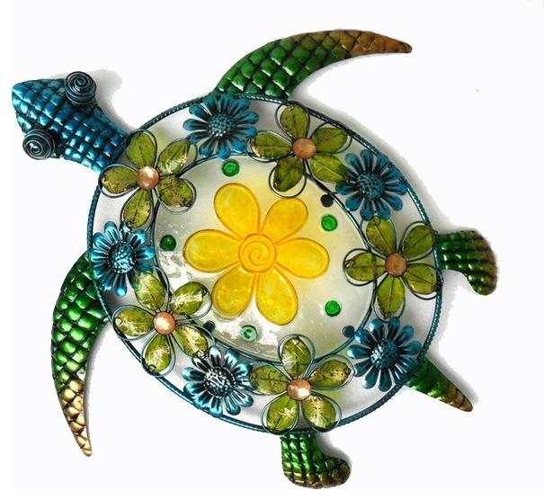 Acrylic Beaded Flower Sea Turtle Wall
