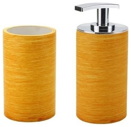 Orange Soap Dispenser And Toothbrush Holder Set Contemporary Bathroom Acc