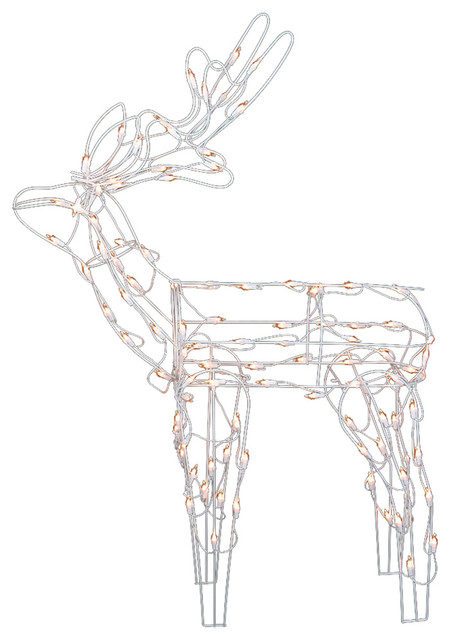 46 Lighted White Standing Reindeer Christmas Yard Art Decoration
