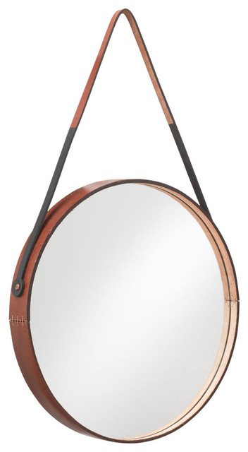 Round Leather-Wrapped Mirror - Contemporary - Wall Mirrors ...