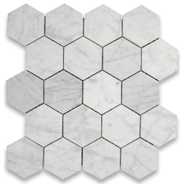 "12.25""x10.75"" Carrara White Hexagon Mosaic Tile Polished, Chip Size 3""."