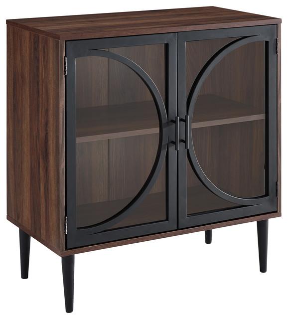 30 Quot Metal Door Tempered Glass Accent Storage Cabinet Dark