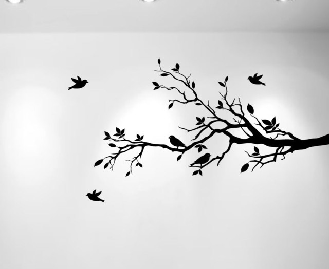"Tree Branches And Love Birds, Vinyl Sticker, 56""x28"", Black, Right To Left."