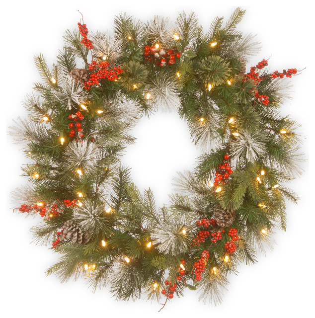 """Wintry Berry Wreath With Battery Operated Led Lights, 30""""."""