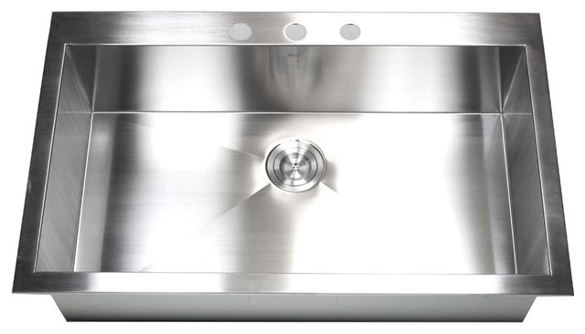 "36"" top-mount/drop-in stainless steel single bowl kitchen sink"