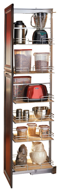 rev a shelf pullout pantry maple and chrome traditional. Black Bedroom Furniture Sets. Home Design Ideas