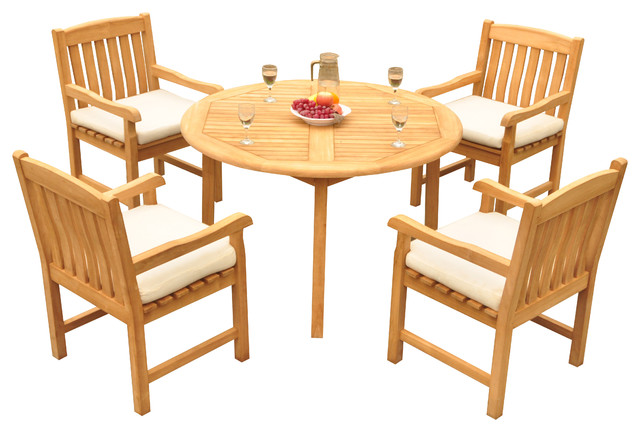 Marvelous 5 Piece Outdoor Patio Teak Dining Set 48 Round Table 4 Devon Arm Chairs Pdpeps Interior Chair Design Pdpepsorg