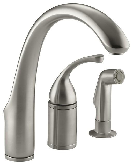 """Kohler Forte 3-Hole Kitchen Sink Faucet, 9"""" Spout, Sidespray, Brushed Nickel."""