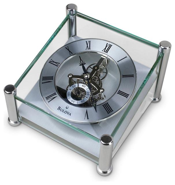 Bulova Quantum Glass Skeleton Desk Clock