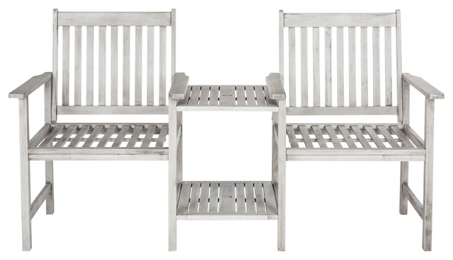 Safavieh Brea Outdoor Twin Seat Bench, Gray.