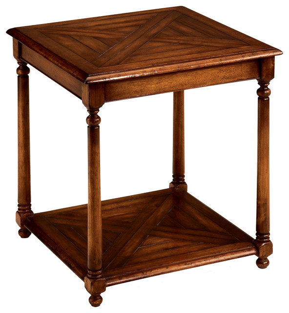 Jonathan Charles Square Parquet Topped Side Table With Undertier 492018