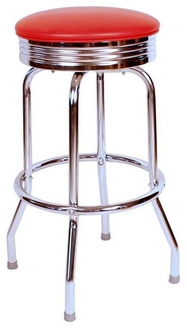 Retro Chrome Swivel Barstool Contemporary Bar Stools