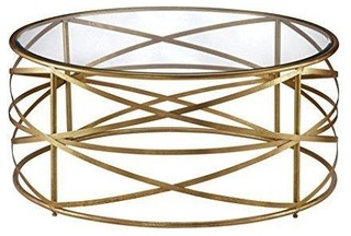 """Criss Cross Metal Gold Ribbon 36"""" Round Coffee Table With Glass Top"""