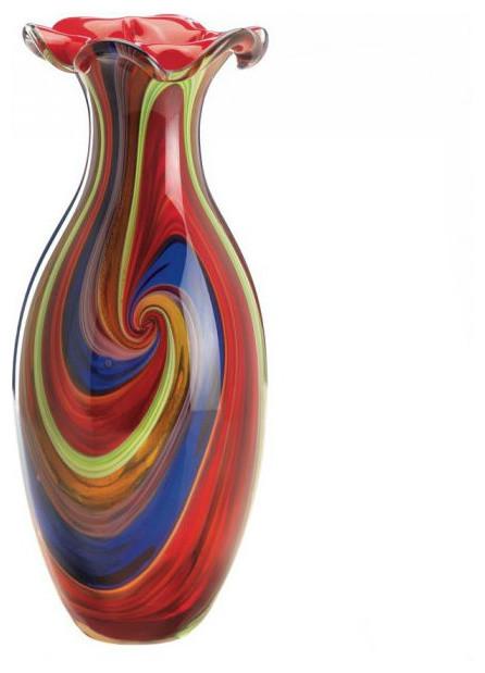 Swirls Of Color Art Glass Vase Contemporary Vases By Koolekoo