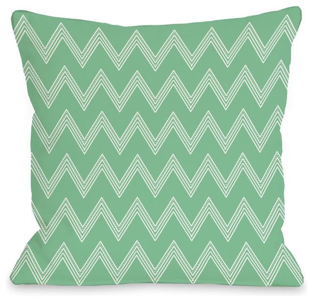 """Emily Tier Chevron"" Indoor Throw Pillow by OneBellaCasa, Green, 16""x16"""