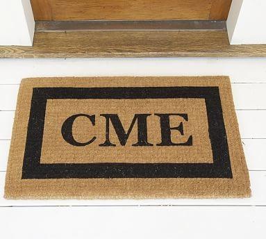 "Monogrammed Half-Round Doormat, 22 x 36"", Black"
