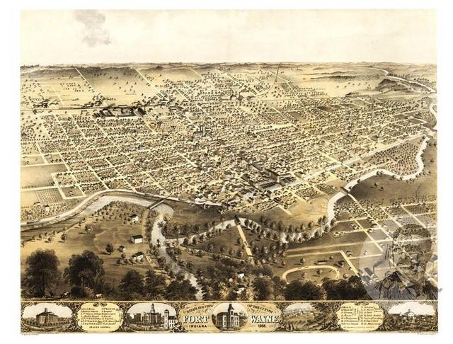 Historic Fort Wayne In Map 1868 Vintage Indiana Art