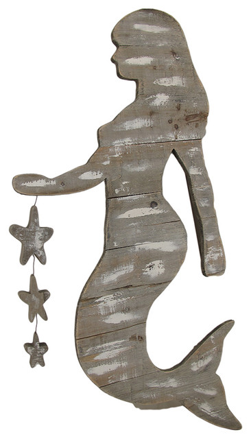Wooden Mermaid Wall Hanging weathered finish wooden mermaid wall hanging dangling stars