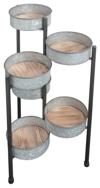 Cheung&x27;s 6 Pot Metal Folding Plant Stand/wood Base.