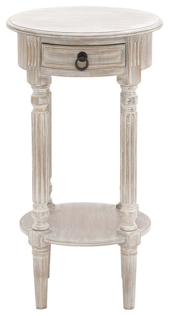 Wood Accent Table, Brown And White Wash.
