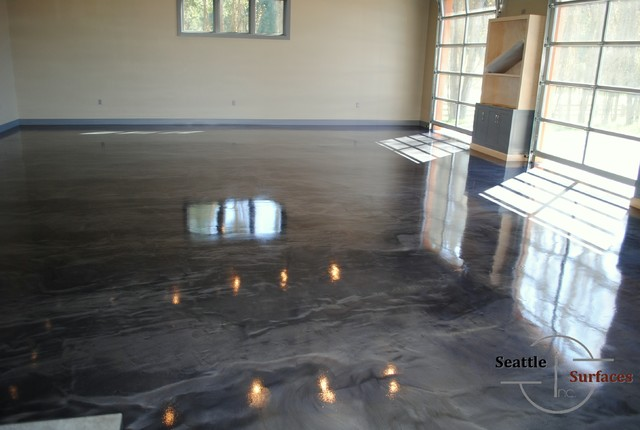 Designer Metallic Epoxy Garage Floor Modern Seattle