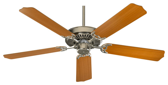 "Capri 42"" Transitional Ceiling Fan, Satin Nickel, Teak/walnut."