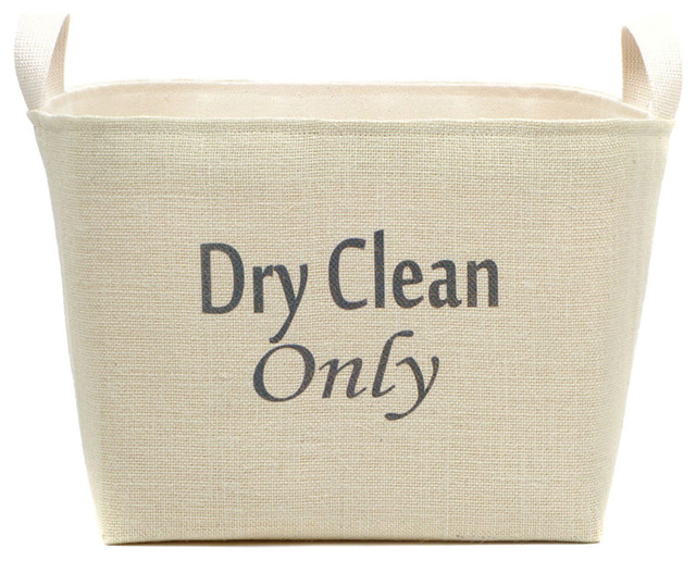 Dry Clean Only Burlap Laundry Basket.