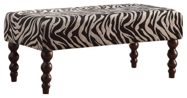 Wooden Bench, Zebra Fabric, Black And White.