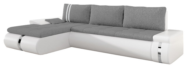 Brilliant Eqsalon Paola Contemporary L Shaped Small Sectional Sofa Sleeper 109W White Cjindustries Chair Design For Home Cjindustriesco