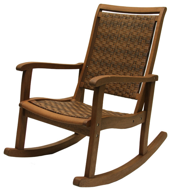 Resin Wicker And Eucalyptus Rocker Chair Traditional