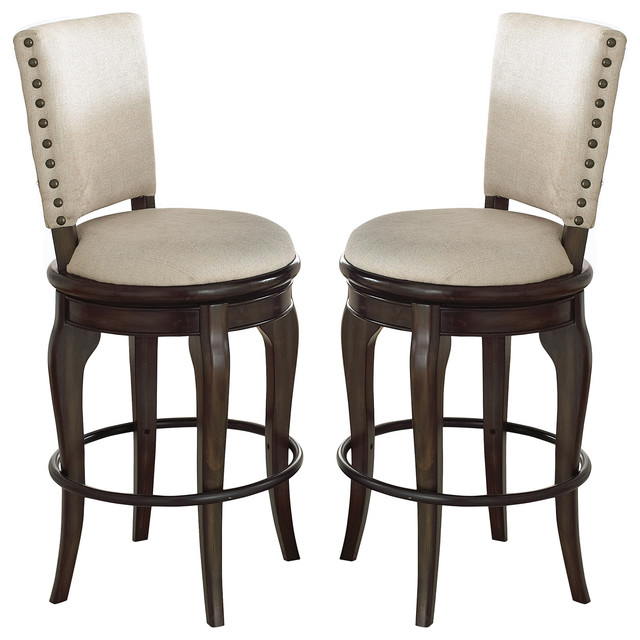 Swivel Bar Chair leona swivel bar chairs, set of 2 - traditional - bar stools and