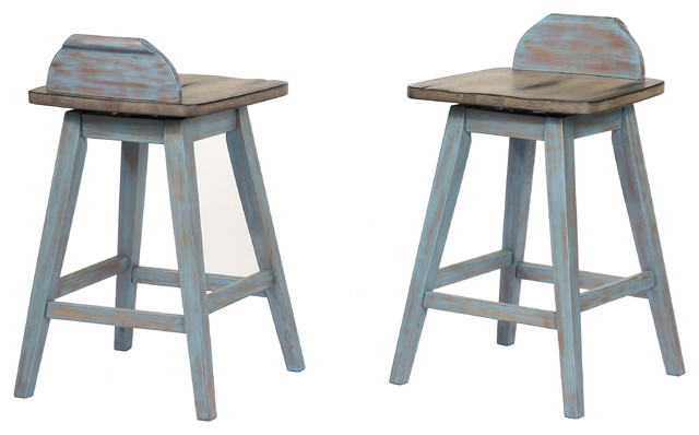 Decatur Swivel Bar Stools Distressed Gray Washed Blue Wood Set Of 2