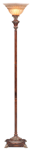 """70"""" Tall Metal Torchiere Floor Lamp With Wooden Finish, Glass Shade."""