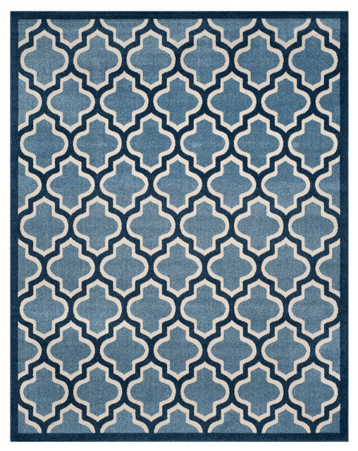Safavieh Amherst Indoor/outdoor Rug, Light Blue/navy, 8&x27;x10&x27;.