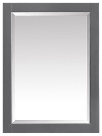 "Avanity 22"" Mirror Cabinet, Twilight Gray With Gold Trim."