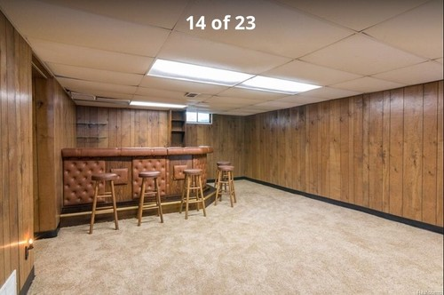 Updating an old basement bar Ways to update wood paneling