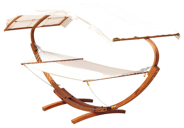 2 Person Wood Arc Outdoor Hammock Stand Set With Canopy Teak