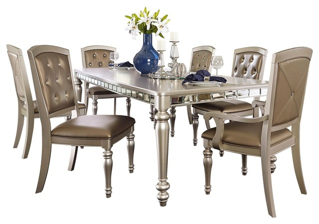 7-Piece Oksana Mirrored Dining Set Table, 2 Arm, 4 Side Chair, Champagne
