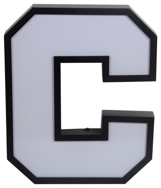 Letter C Wall Hanging Led Backlit Metal And White Glass Letter C Wall Hanging