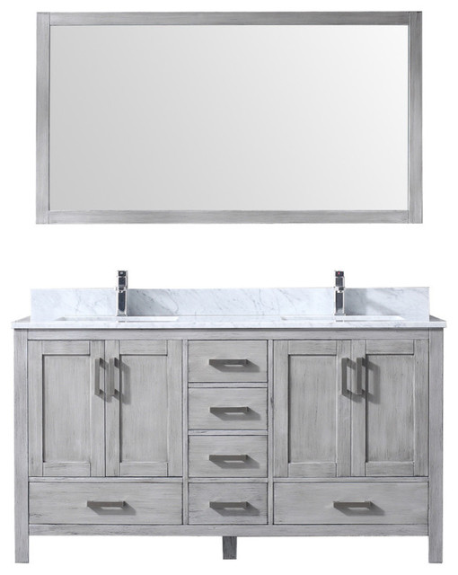 60 Double Vanity With Carrera Marble Top, Sink And 58 Mirror, Distressed Gray.
