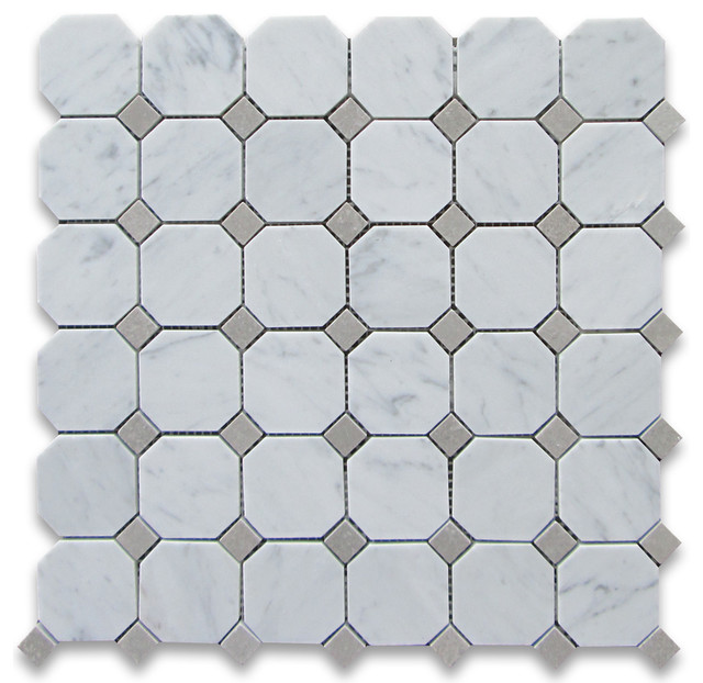 12x12 Carrara White Octagon Mosaic Tile With Gray Dots Polished