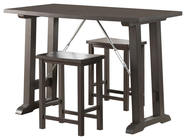 Marvelous Acme Filbert 3 Piece Pack Counter Height Set Gray Oak And Chrome Alphanode Cool Chair Designs And Ideas Alphanodeonline