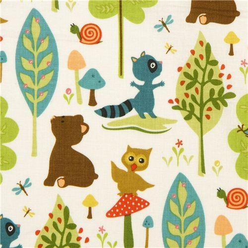 Riley Blake Animal Fabric With Owl Racoon Bear Tree