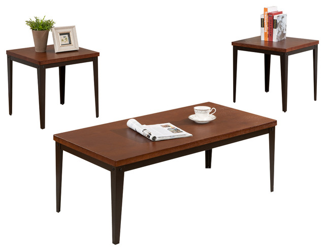 3 Piece Metal Frame With Cherry Finish Wood Top Coffee Table 2 End Tables Set Coffee Table