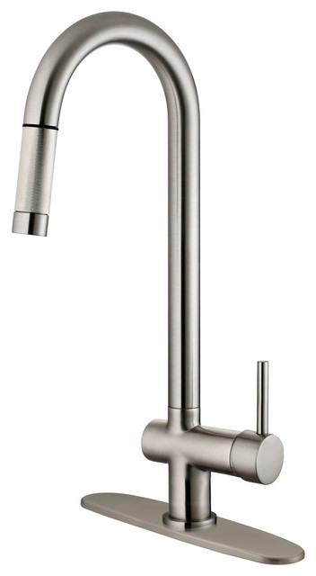 Brushed Nickel Finish Pull Down Kitchen Faucet LK13B, 1 Hole, 3 Holes  Contemporary